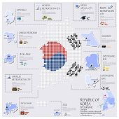 Dot And Flag Map Of Republic Of Korea Infographic Design