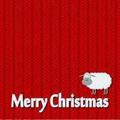 Christmas and New Year knitted pattern card with funny sheep. Vector illustration
