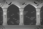 Black and white haunted interior - eps10 vector illustration.