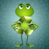 Funny Frog With Recycle Symbol