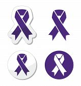 Indigo ribbon - bullying, stalking awareness symbol
