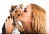 Beautiful woman to kiss the dog breed