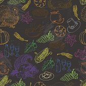 Thanksgiving seamless pattern color sketch doodle. Hand draw vector illustration