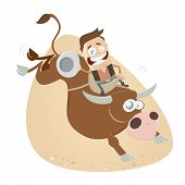 picture of bull-riding  - funny rodeo riding cowboy - JPG