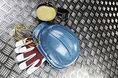 industrial protective clothing, gear, hard-hat, glasses and ear-protection