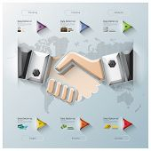 Hand Shake Three Dimension Polygon Business Infographic