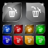 Recycle bin sign icon. Bins symbol. Set colourful buttons. Vector