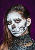 pic of day dead skull  - Young woman in day of the dead mask skull face art - JPG