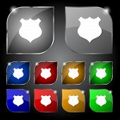 Shield sign icon. Protection symbol. Set colourful buttons. Vector