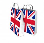 Two Shopping Bags Opened And Closed With Uk Flag. Retail Business