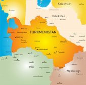 stock photo of turkmenistan  - Vector color map of Turkmenistan - JPG