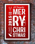 Type Christmas Design. Brick Wall Background.