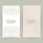 Vertical Wedding Invitation Card With Lace Ornament. Vector Background