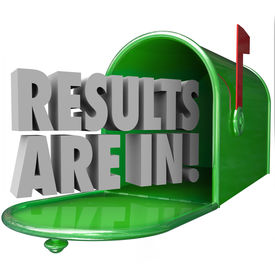 image of mailbox  - Results Are In 3d words in a green metal mailbox to inform you that test or research findings are available and delivered - JPG