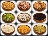 stock photo of legume  - collage of different type of legumes isolated on white - JPG