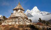 Stupa Near Pangboche Village With Mount Ama Dablam