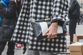 Detail Of Bag Outside Armani Fashion Show Building For Milan Women's Fashion Week 2015