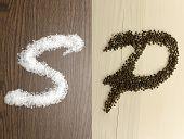 Salt and pepper as