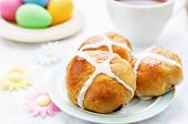 Easter Buns With A Cross And Eggs