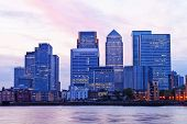 London Docklands financial district cityscape on a colorful evening