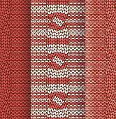 Cabled knitted pattern red and white