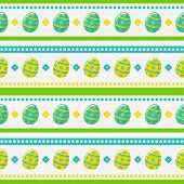 Easter Seamless Pattern With Painted Eggs. Vector Background.