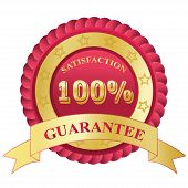 100%, Satisfaction, Guarantee, badge, red, vector, illustration