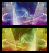 foto of cosmic  - Two Abstract Fractal horizontal backgrounds cosmic light in  different colors for screen mobile telephone tablet monitor - JPG