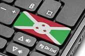 Go To Burundi! Computer Keyboard With Flag Key.