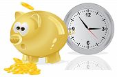 Time is money, gold concept, piggy bank,vector, illustration