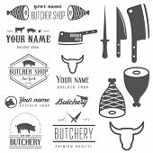 foto of monochromatic  - Collection of vintage logo and logotype elements for butchery and butcher shop - JPG