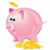 Piggy bank with coins, vector, illustration