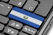 Go To El Salvador! Computer Keyboard With Flag Key.