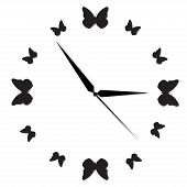 Clock, butterfly, time, concept, vector, illustration