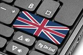 Go To United Kingdom! Computer Keyboard With Flag Key.