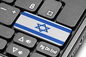 Go To Israel! Computer Keyboard With Flag Key.