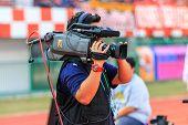 Sisaket Thailand-february 18: Cameraman During Thai Premier League Match Between Sisaket Fc And Bec