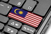 Go To Malaysia! Computer Keyboard With Flag Key.