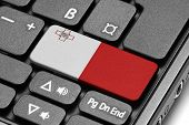 Go To Malta! Computer Keyboard With Flag Key.