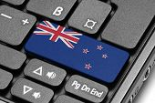 Go To New Zealand! Computer Keyboard With Flag Key.