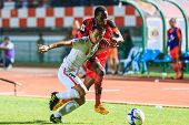 Sisaket Thailand-february 18: Pitakpong Kulasuwan Of Bec Tero (white) In Action During Thai Premier