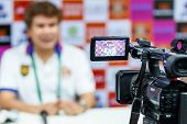 Sisaket Thailand-february 18: Professional Camcorder Recording At A Press Conference After The Match