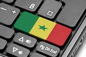 Go To Senegal! Computer Keyboard With Flag Key.