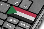 Go To Sudan! Computer Keyboard With Flag Key.
