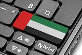 Go To United Arab Emirates! Computer Keyboard With Flag Key.