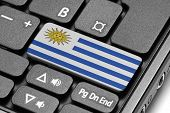 Go To Uruguay! Computer Keyboard With Flag Key.