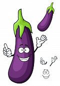 Cartoon glossy violet eggplant vegetable character