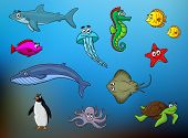 image of octopus  - Cartoon cute fishes - JPG