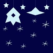 picture of flying saucer  - Stylized dark blue childlike cosmic background with light blue stars hanging spaceship with illuminator and flying saucer - JPG
