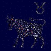 Zodiac Sign Taurus Over Starry Sky